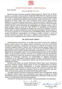 PAENITENTIARIA APOSTOLIA Prot